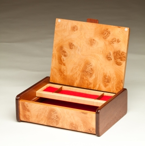 Mappa Burl Veneer Jewelry Box - open